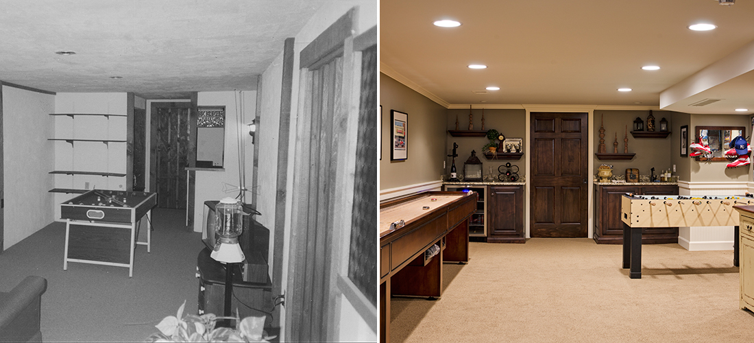 before and after finished basement with game room, pocket door, and wet bar