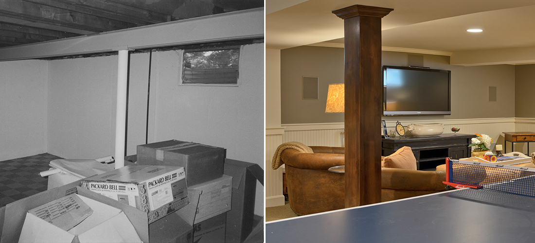 before and after finished basement with wainscoting, recessed lighting and stained wood post