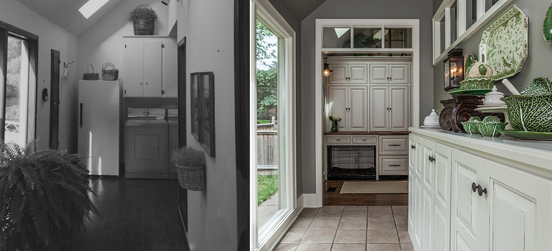 before and after from laundry in the entry to expanded pantry with skylights