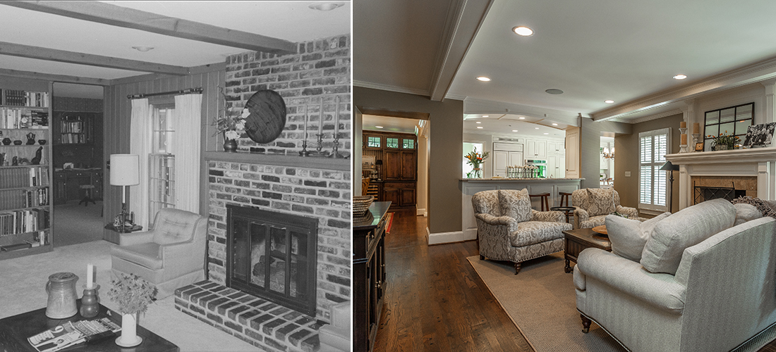 before and after of a refaced fireplace and opened up living room