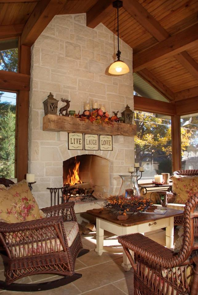 3 seasons screened in porch with stone fireplace
