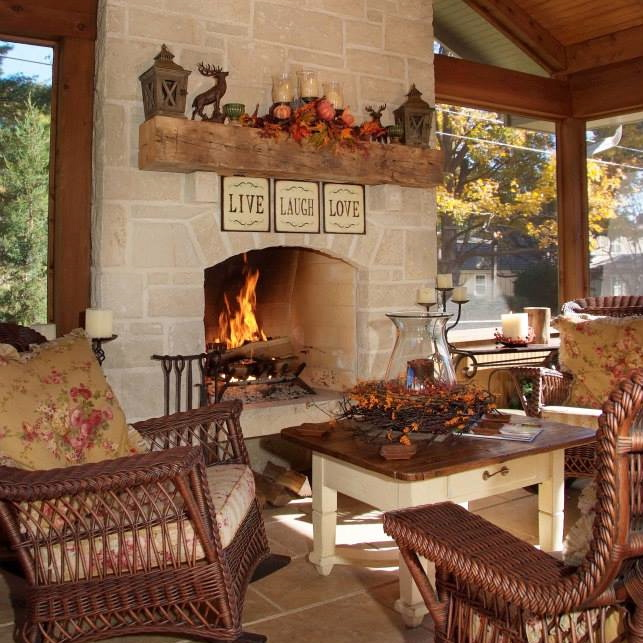 three seasons screened in porch with fire