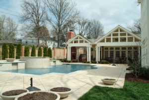 backyard pool, patio and covered outdoor kitchen with builtin grill
