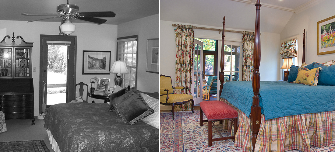 master bedroom before and after with new french doors leading out to a new screened in porch