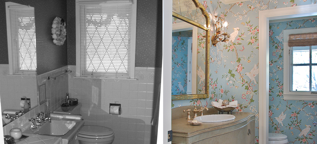 powder bathroom before and after with new wallpaper, window etc.