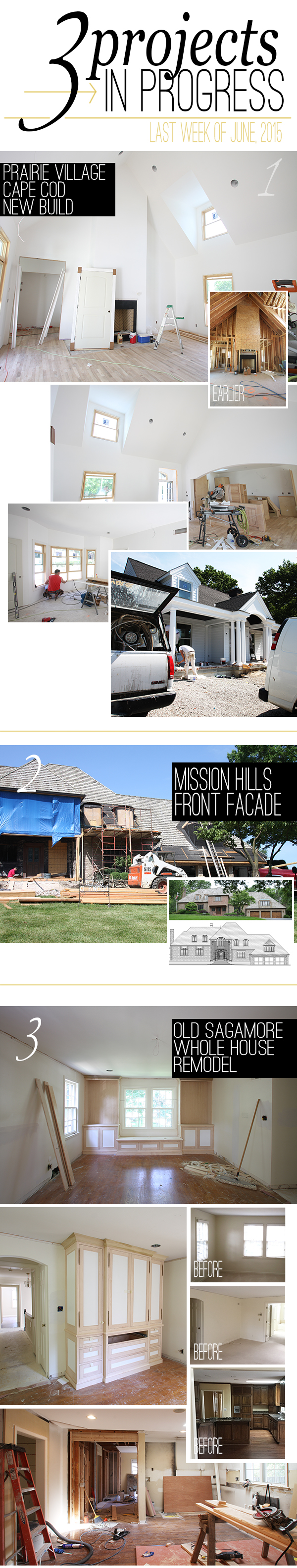 progress pictures on three scovell wolfe projects