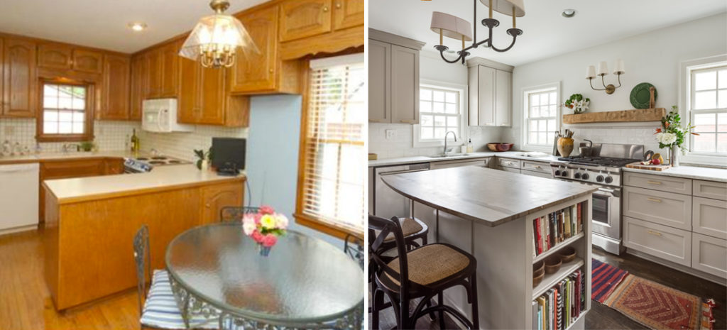 before and after of brookside tudor kitchen by scovell wolfe