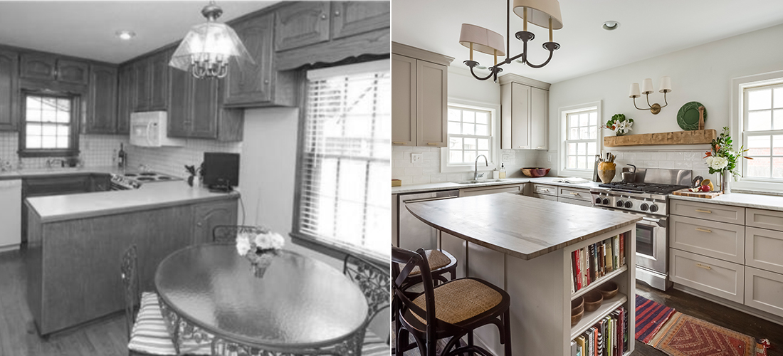 before and after of a Brookside kitchen remodel by Scovell Wolfe