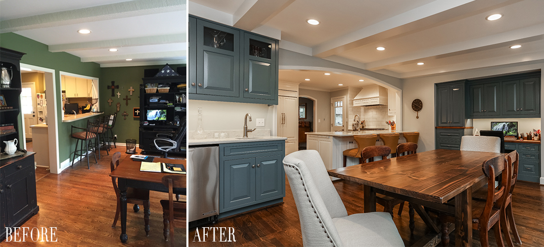 before and after of a romanelli kansas city kitchen and breakfast room