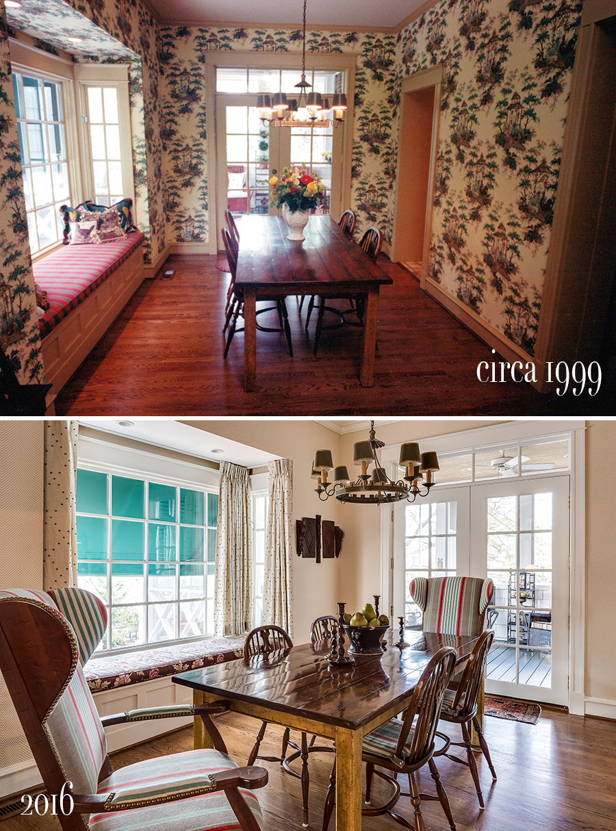 before and after of breakfast room