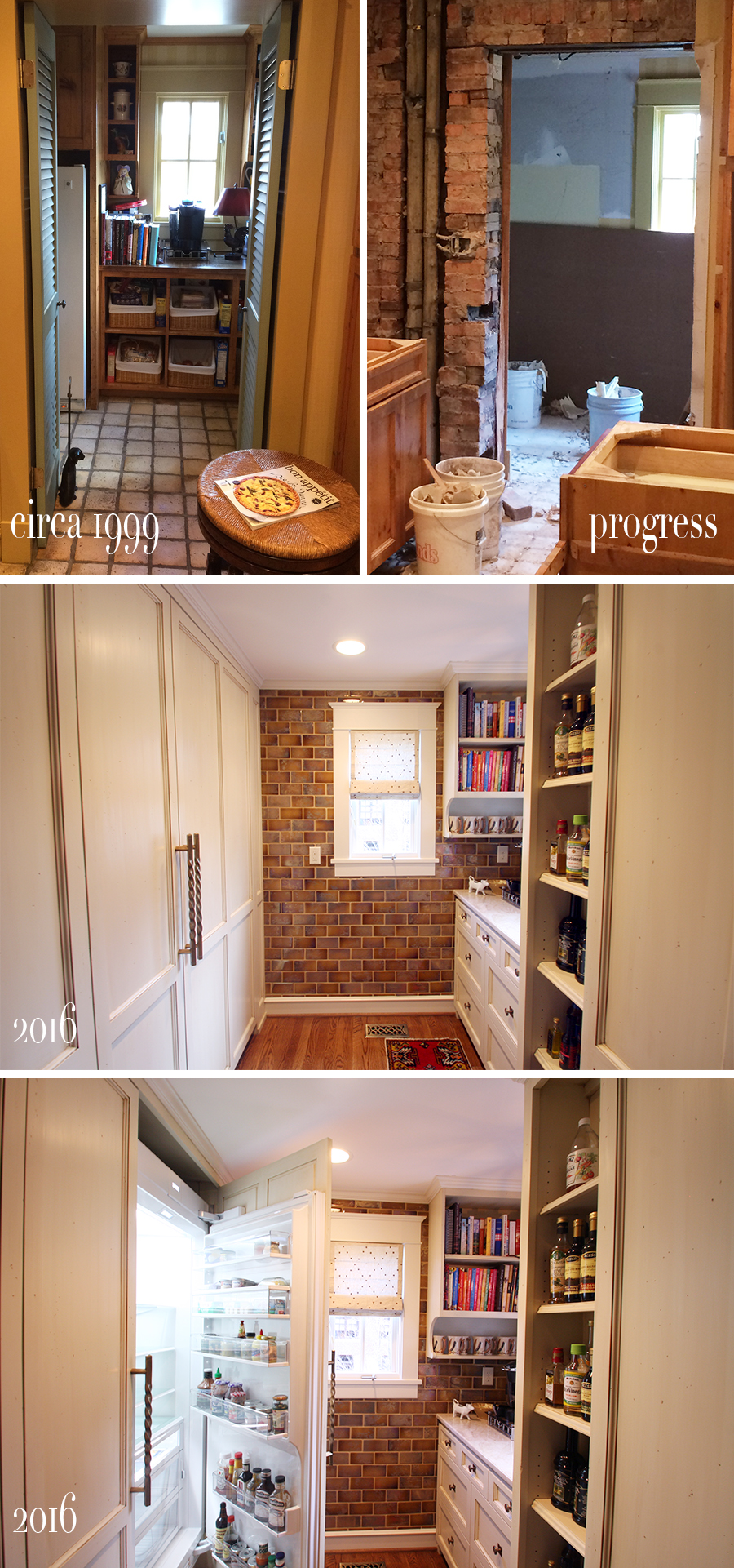 before during and after pictures of walk in pantry with paneled subzero fridge