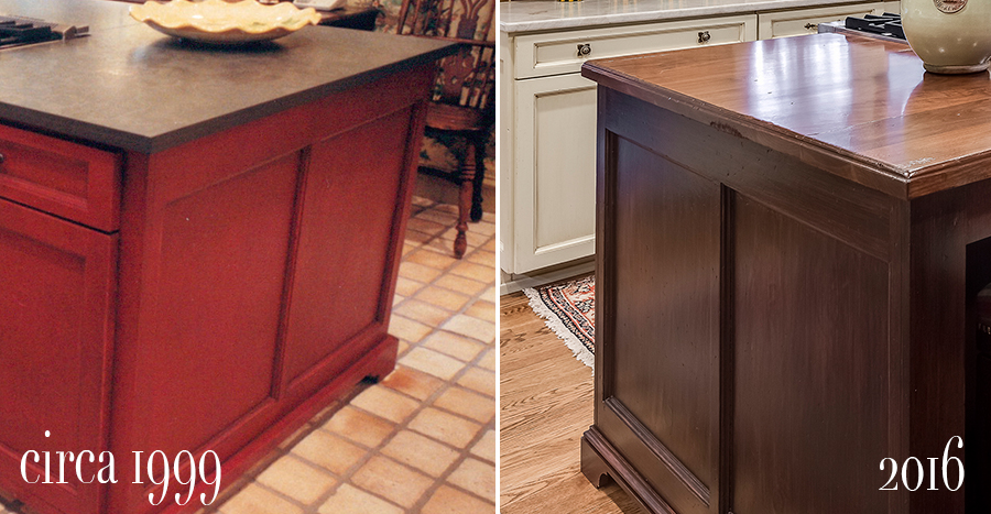 before and after of island stripped, stained and topped with walnut counter