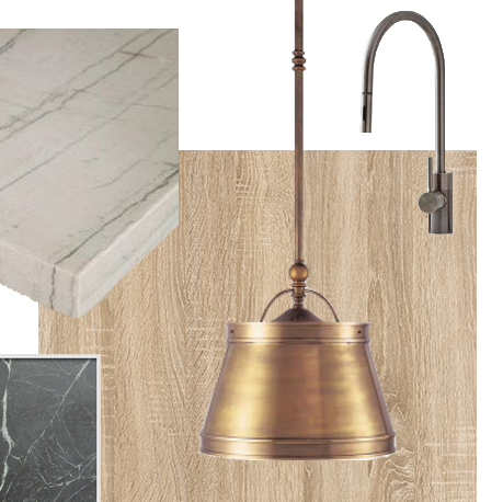 mood board with marble countertops, pendant light and kitchen faucet