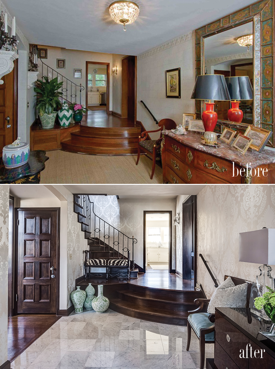 the same foyer in kansas city decorated by two separate designers
