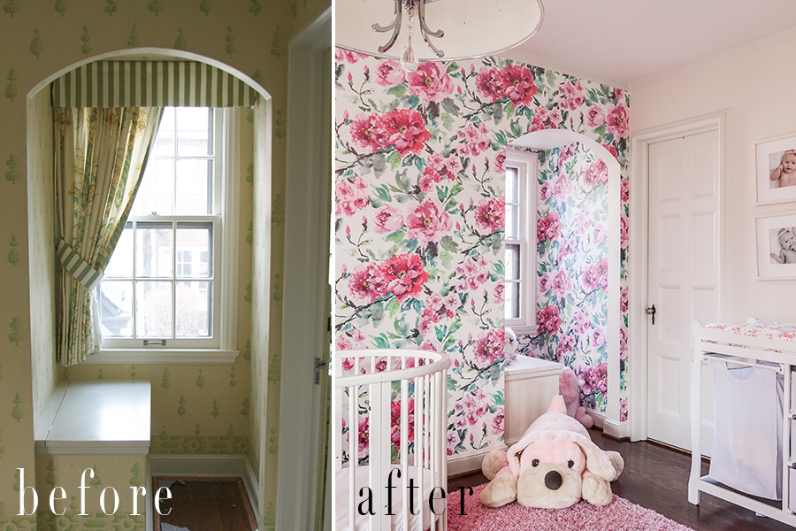 nursery wallpaper before and after hung by scovell wolfe