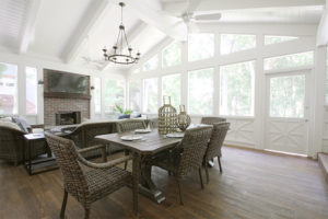 cherry creek leawood screened in porch addition with fireplace