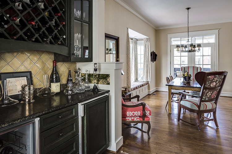 wet bar leading to breakfast room by scovell wolfe