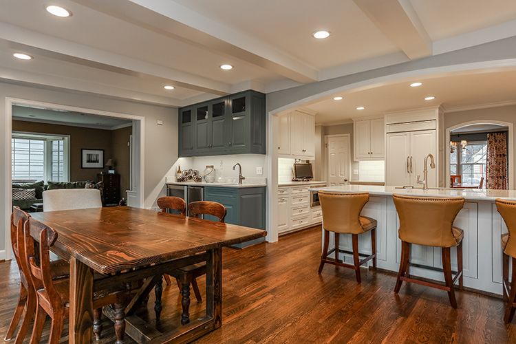 open breakfast room, wet bar and kitchen by scovell wolfe