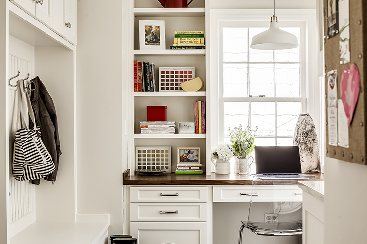 built in office space in mudroom laundry room combo by scovell wolfe