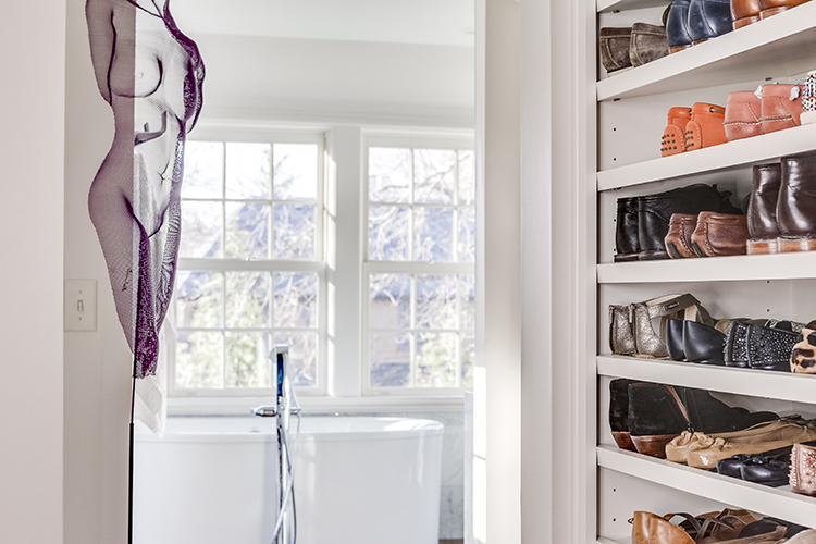 shoe storage in scovell wolfe designed master closet
