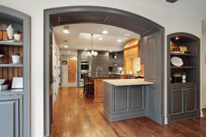 barrel vault cased opening to kitchen