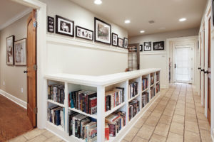 custom half wall with bookcases
