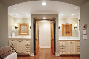 his and hers master bathroom vanities with pine doors
