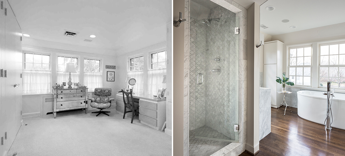 sleeping porch turned master bathroom with carrara and hardwoods by scovell wolfe