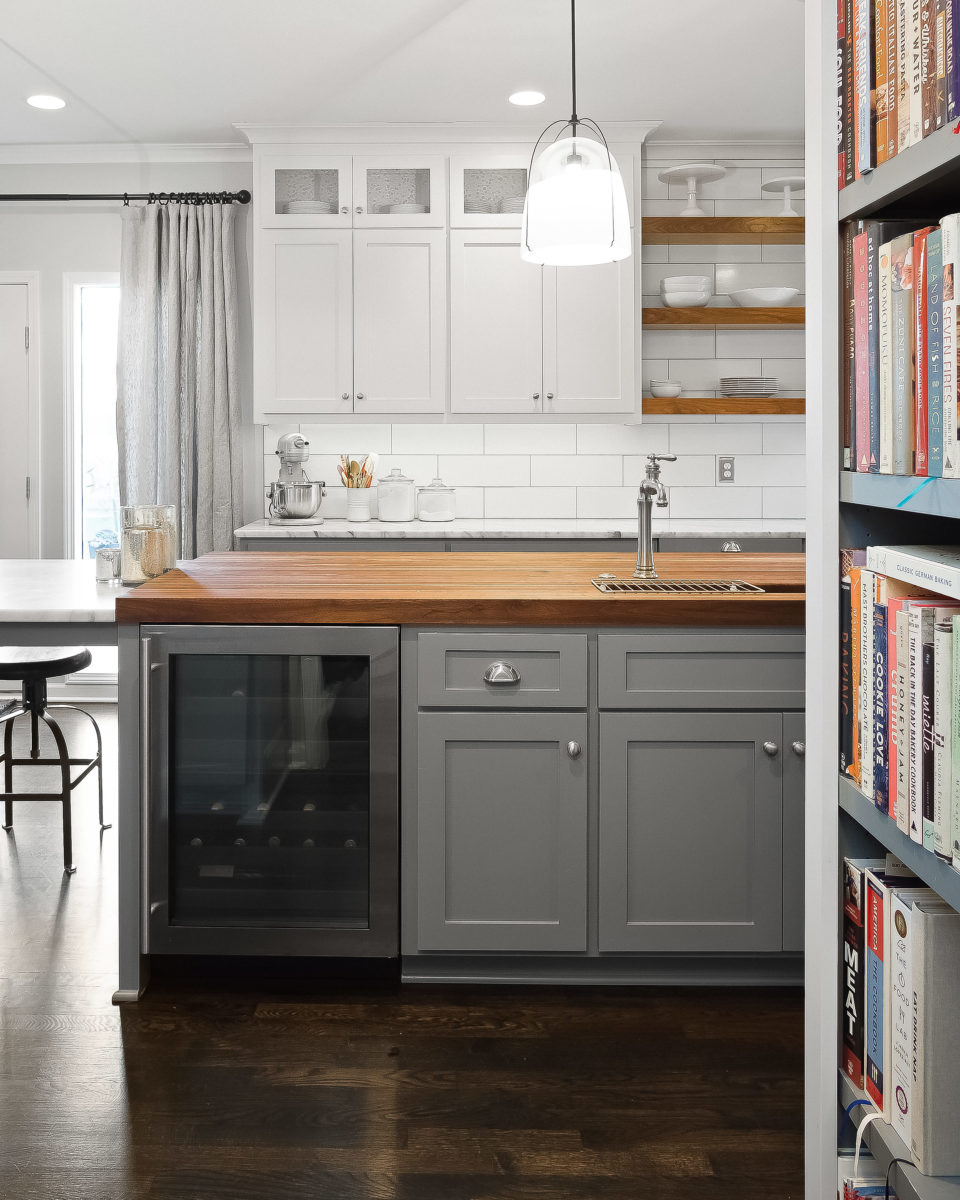 kitchen island with bev center and butcher block top