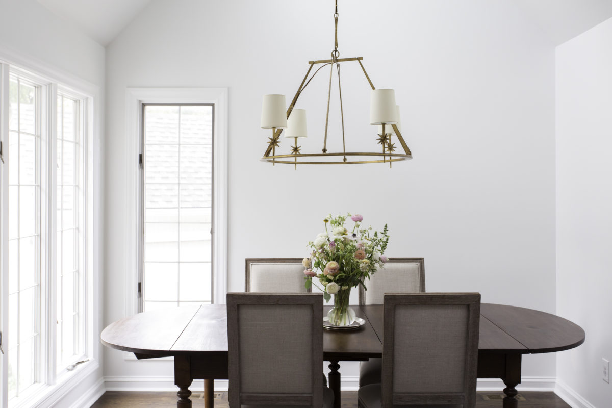 breakfast nook with etoile visual comfort chandelier