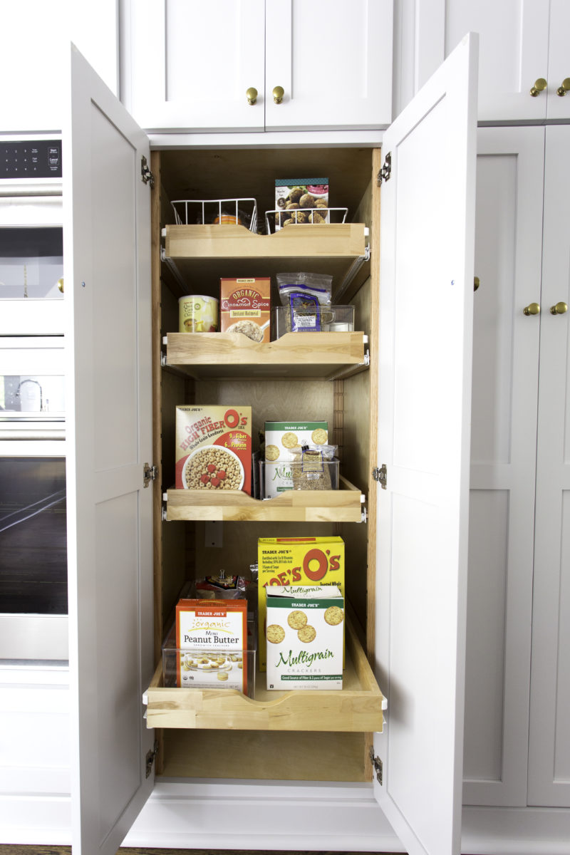 shaker style cabinet with pull out pantry