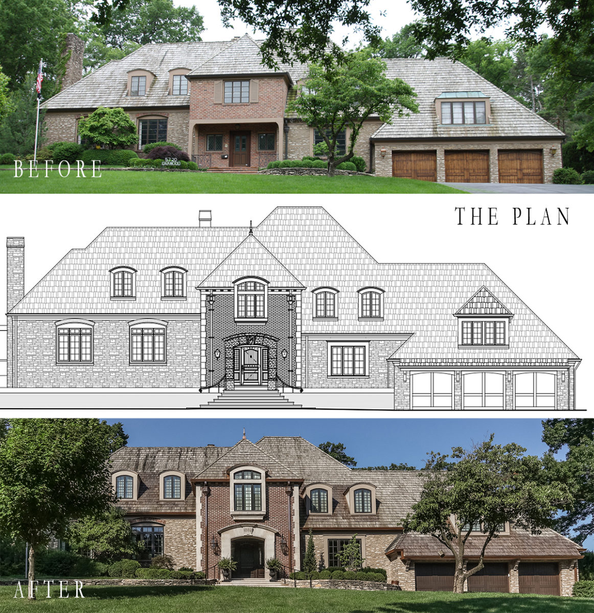 before picture beside architectural plan and after shot of mission hills stone and brick house