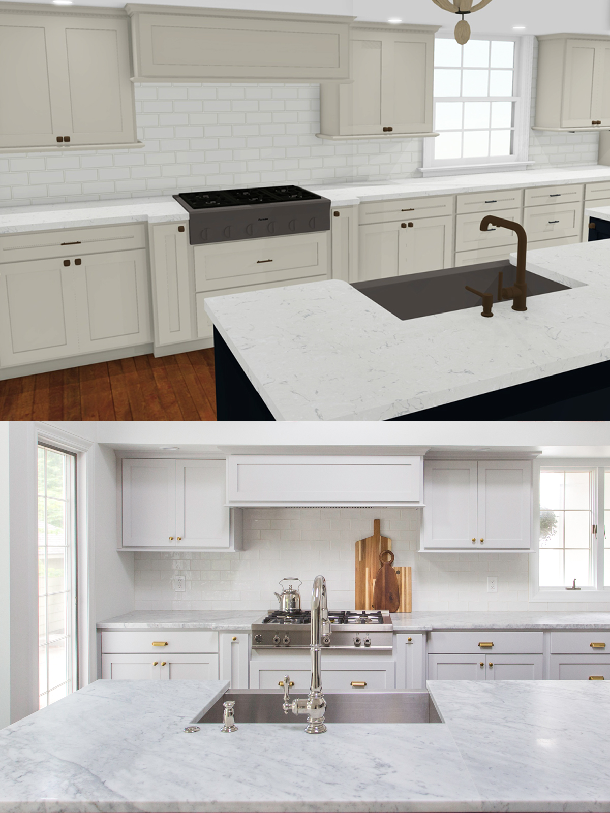 rendering compared to kitchen after scovell remodel