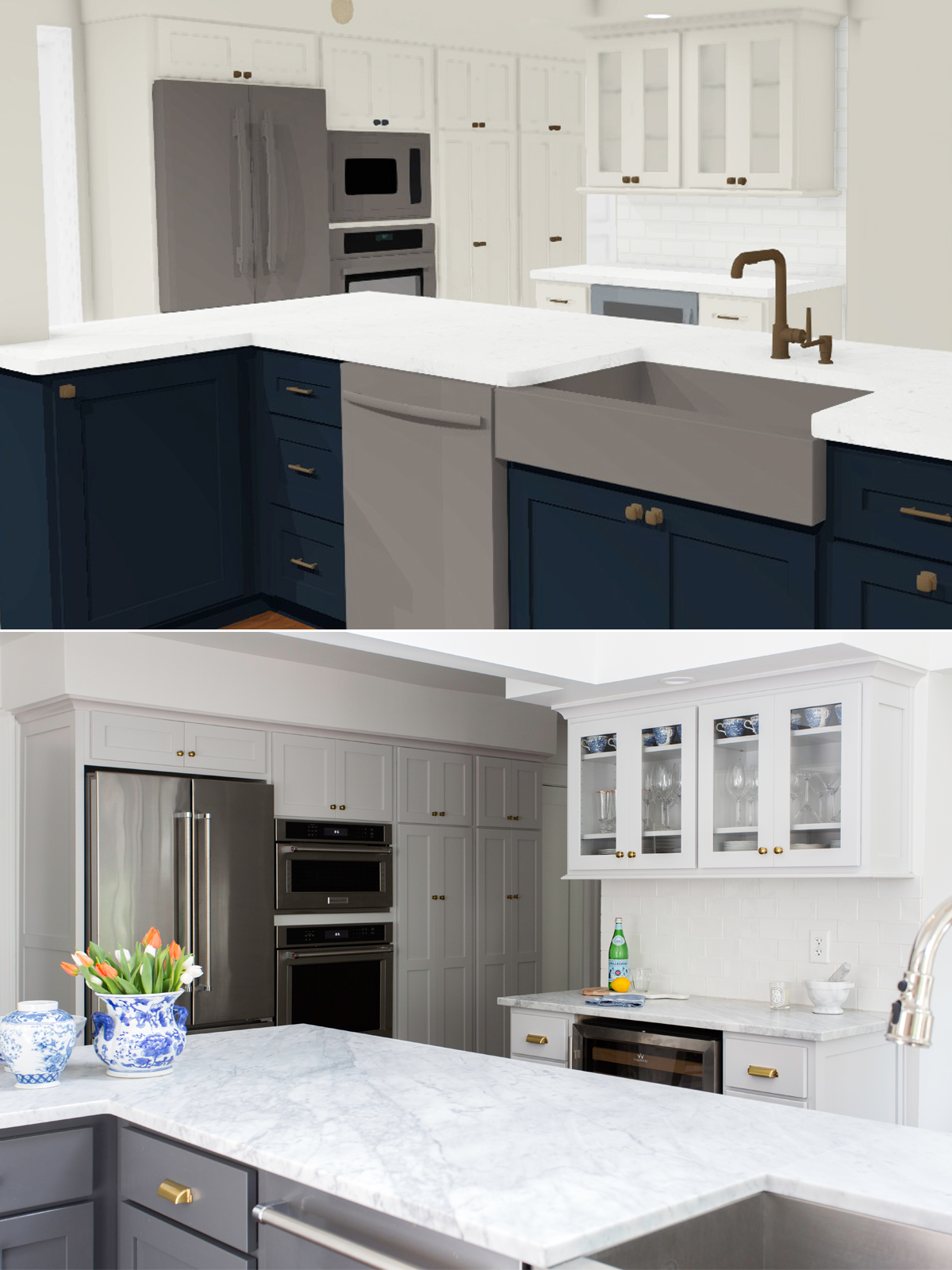kitchen rendering and after shot in brookside scovell remodeled kitchen