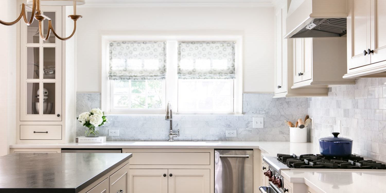 Mission Hills Kitchen remodel with erika powell fabric and marble backsplash