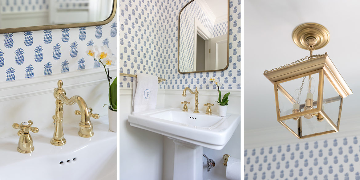 serena and lily wallpaper powder bathroom with brass faucet