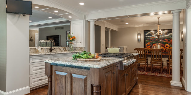 prairie village kitchen remodel with stained island by scovell remodeling