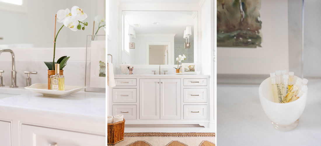 hallbrook bathroom remodel with marble and inset cabinetry with styling by folio objects